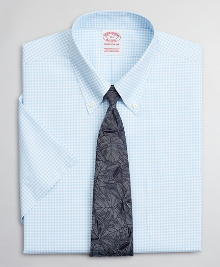Stretch Madison Relaxed-Fit Dress Shirt, Non-Iron Poplin Short-Sleeve Gingham