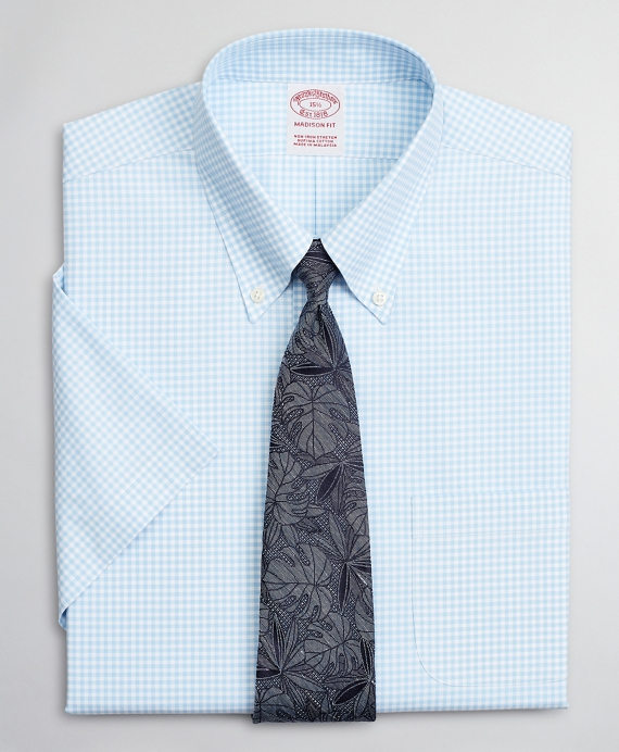 Stretch Madison Relaxed-Fit Dress Shirt, Non-Iron Poplin Short-Sleeve Gingham Light Blue