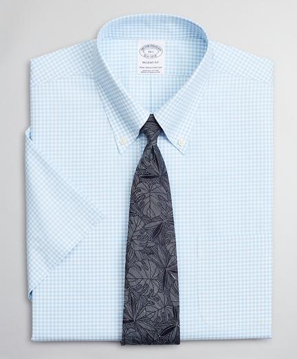 Stretch Regent Regular-Fit Dress Shirt, Non-Iron Poplin Short-Sleeve Gingham