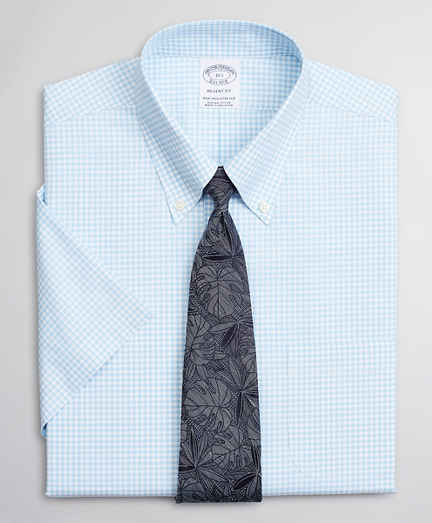 Stretch Regent Fitted Dress Shirt, Non-Iron Poplin Short-Sleeve Gingham