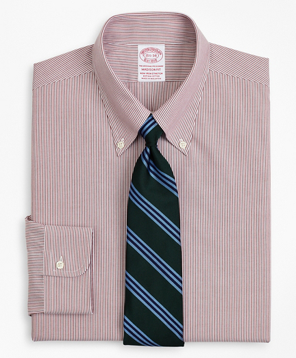 Stretch Madison Classic-Fit Dress Shirt, Non-Iron Poplin Button-Down Collar Fine Stripe