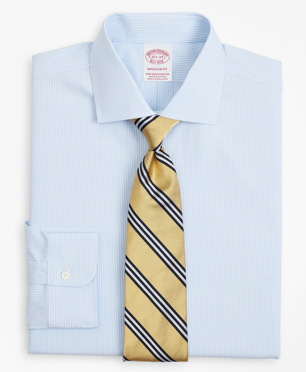Brooksbrothers Stretch Madison Relaxed-Fit Dress Shirt, Non-Iron Poplin English Collar Fine Stripe
