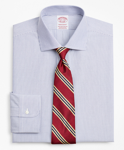 Stretch Madison Classic-Fit Dress Shirt, Non-Iron Poplin English Collar Fine Stripe