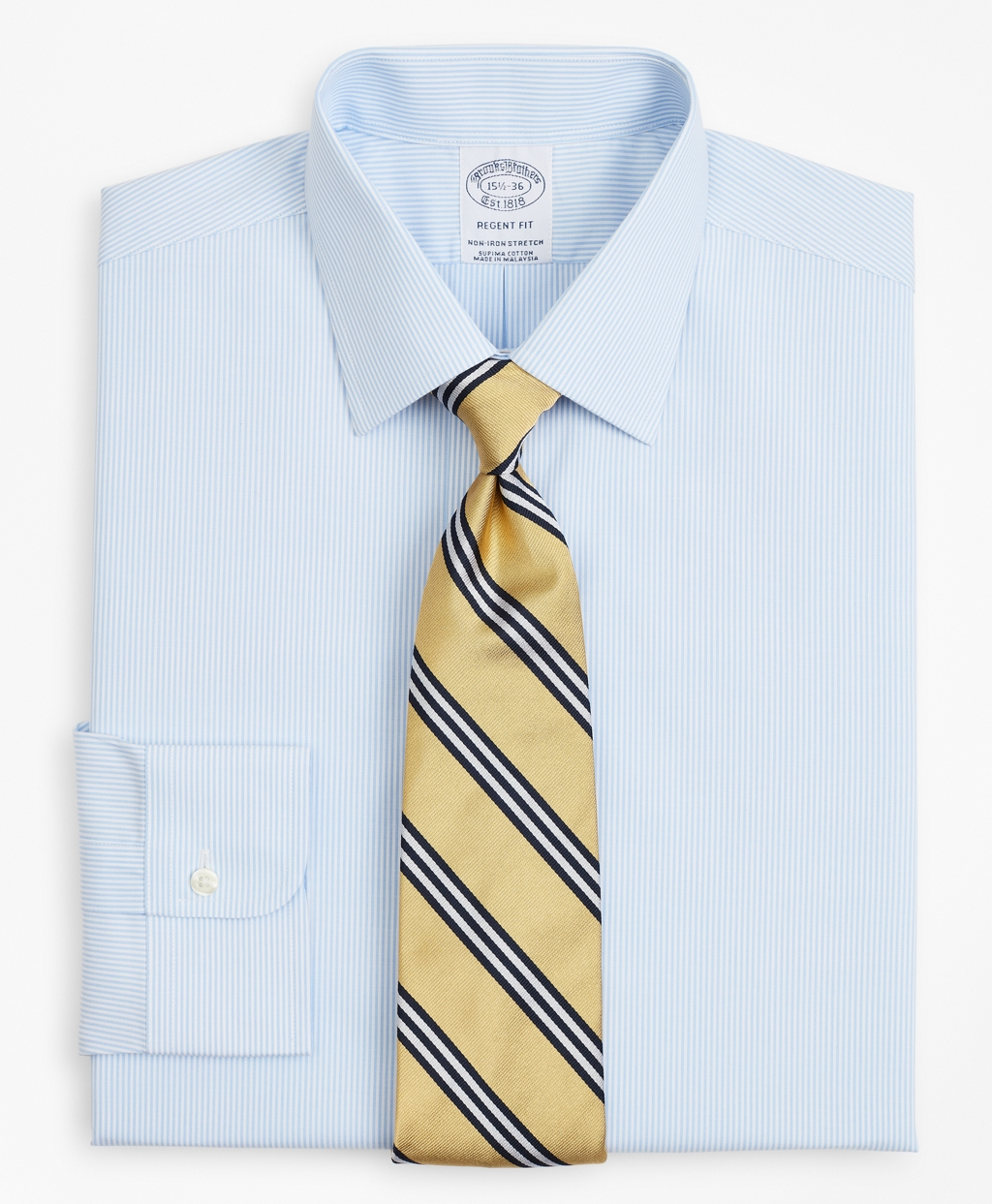 Brooksbrothers Stretch Regent Regular-Fit Dress Shirt, Non-Iron Poplin Ainsley Collar Fine Stripe