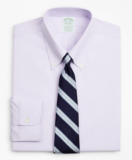 Stretch Milano Slim-Fit Dress Shirt, Non-Iron Poplin Button-Down Collar Fine Stripe