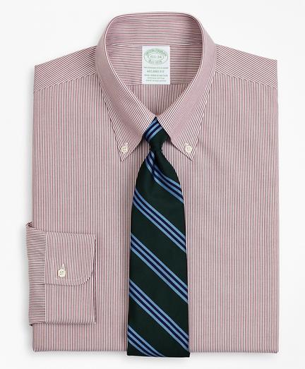 Stretch Milano Slim-Fit Dress Shirt, Non-Iron Poplin Button-Down Collar Fine Stripe