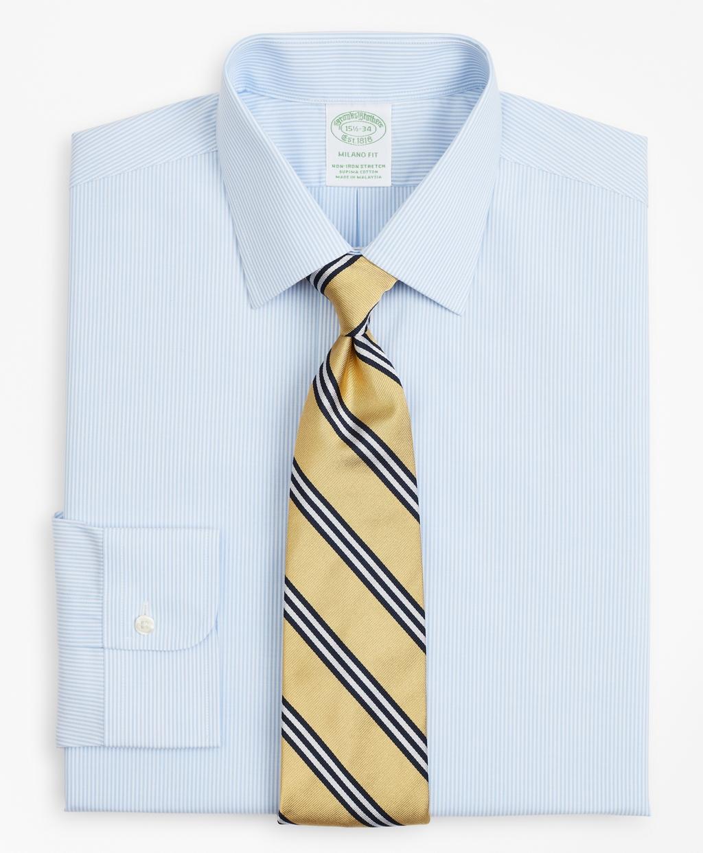 Brooksbrothers Stretch Milano Slim-Fit Dress Shirt, Non-Iron Poplin Ainsley Collar Fine Stripe