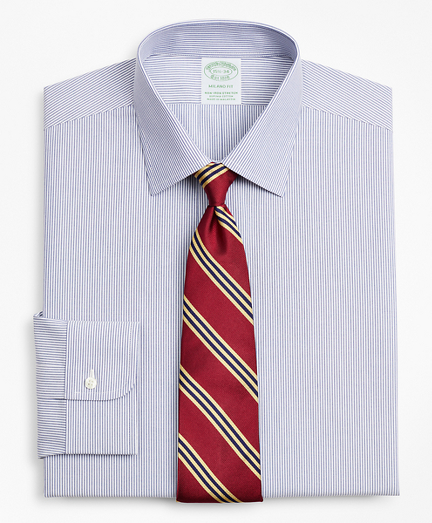Stretch Milano Slim-Fit Dress Shirt, Non-Iron Ainsley Collar Fine Stripe