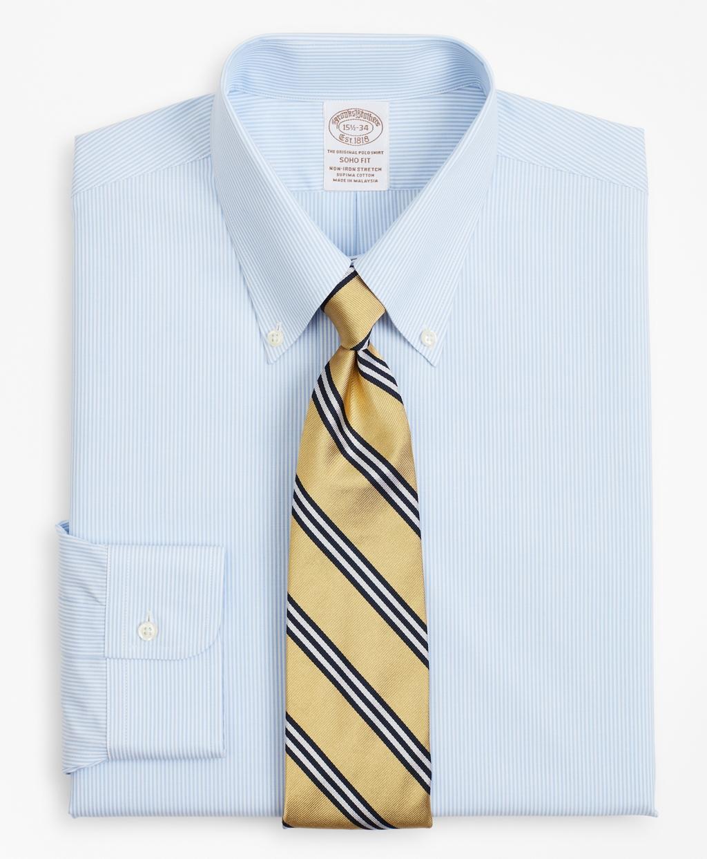 Brooksbrothers Stretch Soho Extra-Slim-Fit Dress Shirt, Non-Iron Poplin Button-Down Collar Fine Stripe