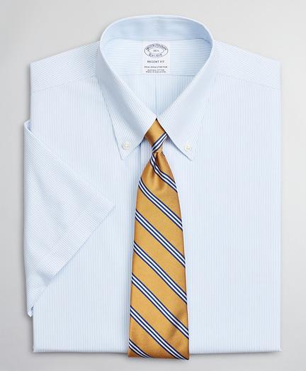 Stretch Regent Fitted Dress Shirt, Non-Iron Poplin Short-Sleeve Fine Stripe