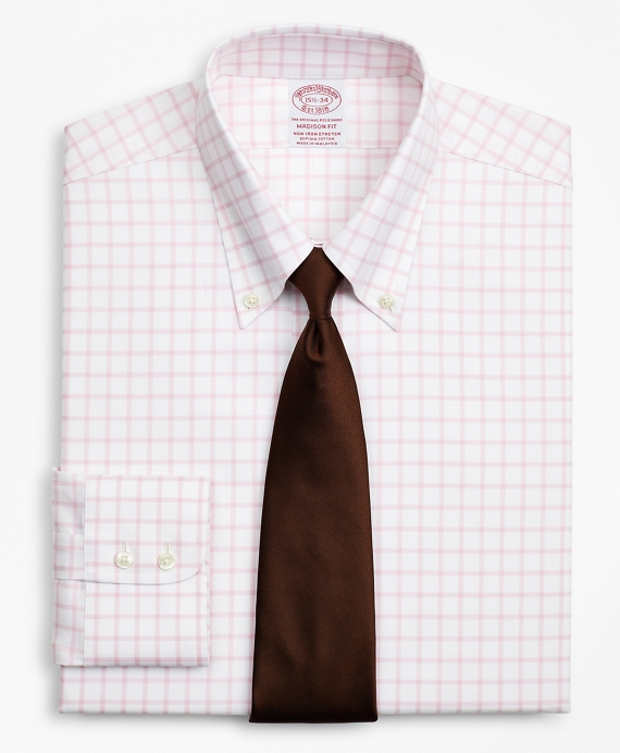 Stretch Madison Classic-Fit Dress Shirt, Non-Iron Twill Button-Down Collar Grid Check Pink