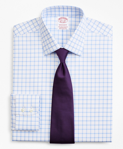 Stretch Madison Relaxed-Fit Dress Shirt, Non-Iron Twill Ainsley Collar Grid Check
