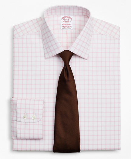 Brooksbrothers Stretch Madison Classic-Fit Dress Shirt, Non-Iron Twill Ainsley Collar Grid Check