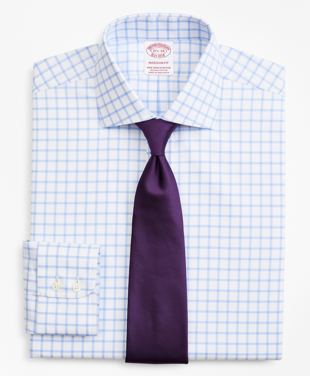 Brooksbrothers Stretch Madison Relaxed-Fit Dress Shirt, Non-Iron Twill English Collar Grid Check