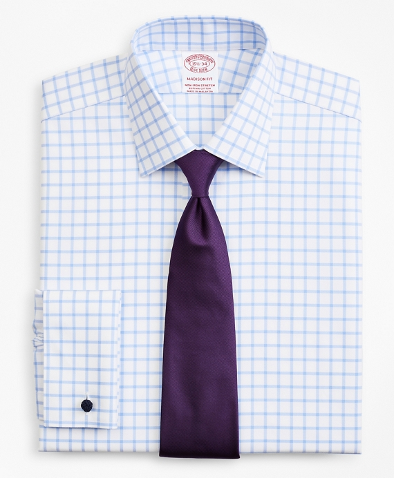 Stretch Madison Classic-Fit Dress Shirt, Non-Iron Twill Ainsley Collar French Cuff  Grid Check Light Blue