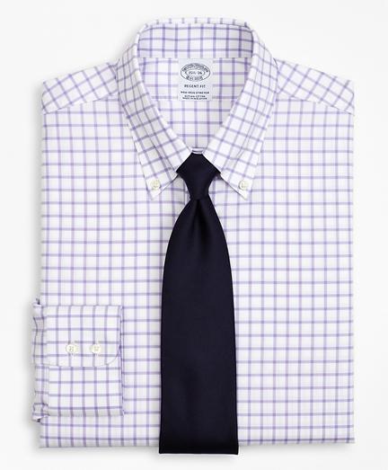 Stretch Regent Regular-Fit Dress Shirt, Non-Iron Twill Button-Down Collar Grid Check