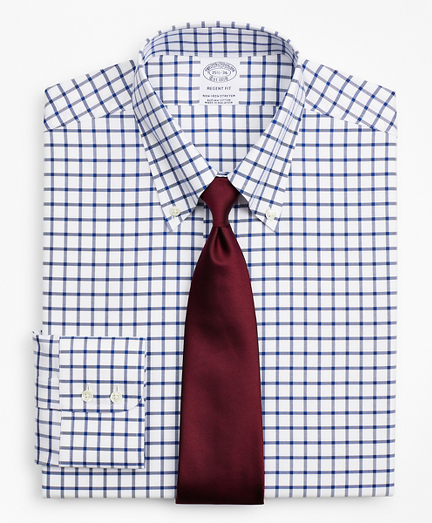 Brooksbrothers Stretch Regent Fitted Dress Shirt, Non-Iron Twill Button-Down Collar Grid Check