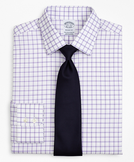 Stretch Regent Fitted Dress Shirt, Non-Iron Twill Ainsley Collar Grid Check