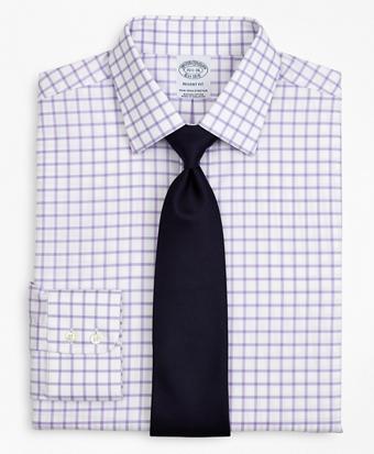 Stretch Regent Regular-Fit Dress Shirt, Non-Iron Twill Ainsley Collar Grid Check