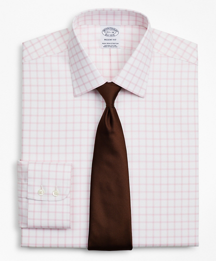 Brooksbrothers Stretch Regent Fitted Dress Shirt, Non-Iron Twill Ainsley Collar Grid Check