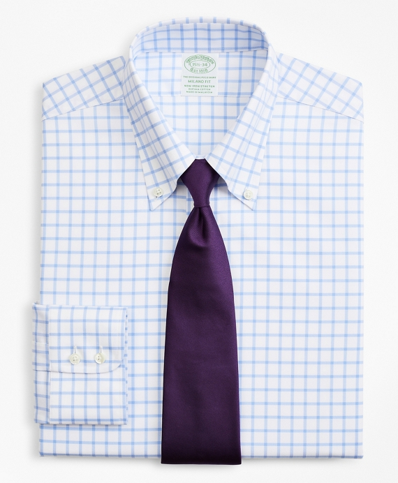Stretch Milano Slim-Fit Dress Shirt, Non-Iron Twill Button-Down Collar Grid Check Light Blue