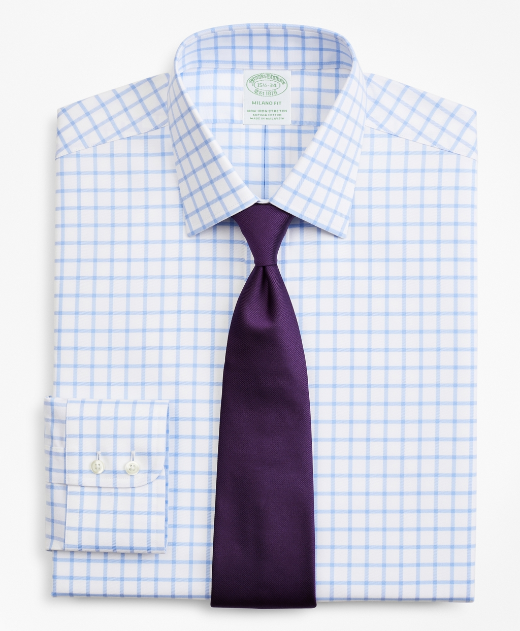 Brooksbrothers Stretch Milano Slim-Fit Dress Shirt, Non-Iron Twill Ainsley Collar Grid Check
