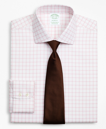Stretch Milano Slim-Fit Dress Shirt, Non-Iron Twill English Collar Grid Check