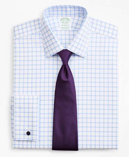 Stretch Milano Slim-Fit Dress Shirt, Non-Iron Twill Ainsley Collar French Cuff Grid Check