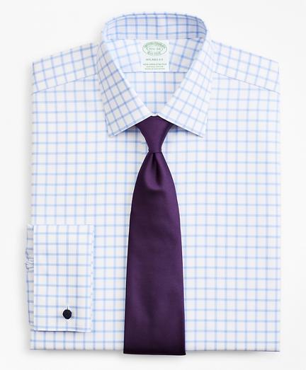 Stretch Milano Slim-Fit Dress Shirt, Non-Iron Twill Ainsley Collar French Cuff Grid Check