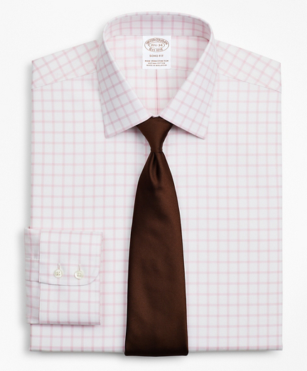 Stretch Soho Extra-Slim-Fit Dress Shirt, Non-Iron Twill Ainsley Collar Grid Check