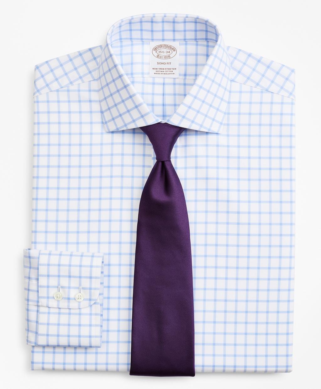 Brooksbrothers Stretch Soho Extra-Slim-Fit Dress Shirt, Non-Iron Twill English Collar Grid Check