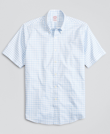Stretch Madison Classic-Fit Dress Shirt, Non-Iron Twill Short-Sleeve Grid Check