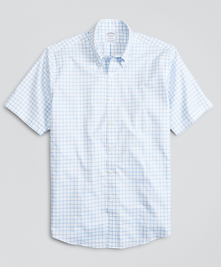 Stretch Regent Fitted Dress Shirt, Non-Iron Twill Short-Sleeve Grid Check