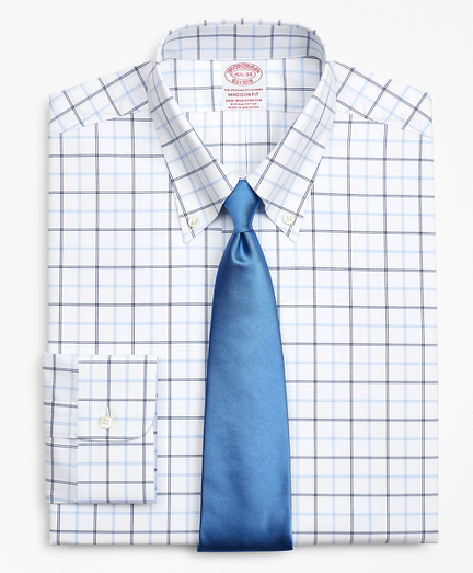 Stretch Madison Relaxed-Fit Dress Shirt, Non-Iron Poplin Button-Down Collar Double-Grid Check