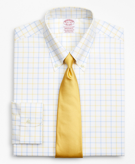 Stretch Madison Classic-Fit Dress Shirt, Non-Iron Poplin Button-Down Collar Double-Grid Check