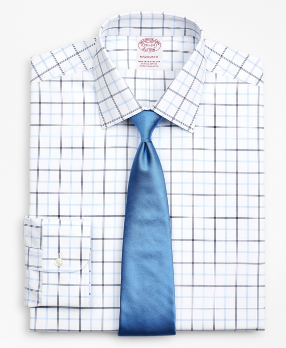 Stretch Madison Classic-Fit Dress Shirt, Non-Iron Poplin Ainsley Collar Double-Grid Check Blue