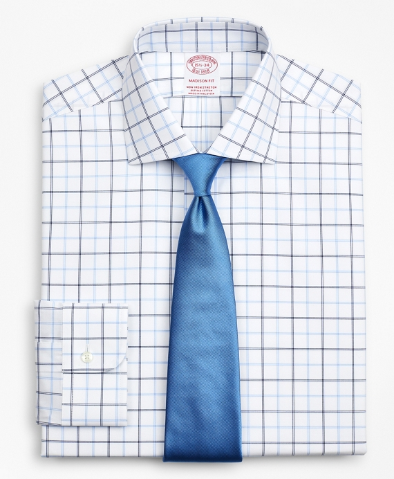 Stretch Madison Relaxed-Fit Dress Shirt, Non-Iron Poplin English Collar Double-Grid Check Blue