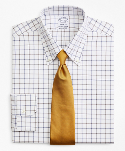 Stretch Regent Fitted Dress Shirt, Non-Iron Poplin Button-Down Collar Double-Grid Check