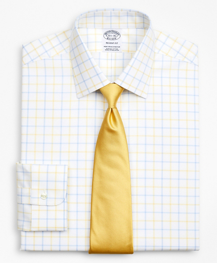 Stretch Regent Fitted Dress Shirt, Non-Iron Poplin Ainsley Collar Double-Grid Check