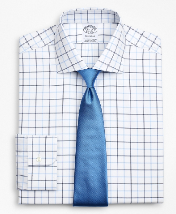 Stretch Regent Fitted Dress Shirt, Non-Iron Poplin English Collar Double-Grid Check Blue