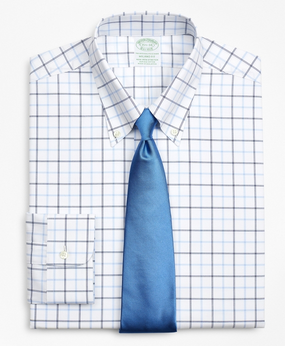 Stretch Milano Slim-Fit Dress Shirt, Non-Iron Poplin Button-Down Collar Double-Grid Check Blue