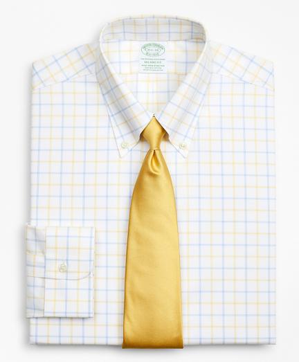 Stretch Milano Slim-Fit Dress Shirt, Non-Iron Poplin Button-Down Collar Double-Grid Check