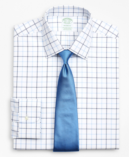 Stretch Milano Slim-Fit Dress Shirt, Non-Iron Poplin Ainsley Collar Double-Grid Check