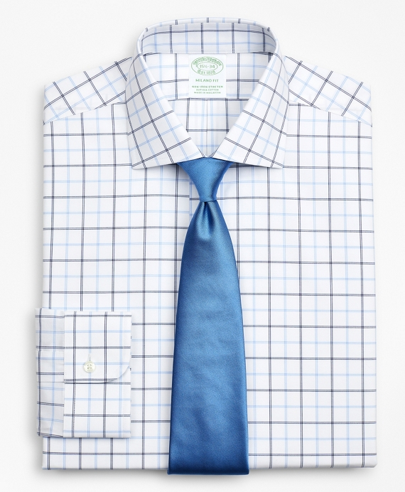 Stretch Milano Slim-Fit Dress Shirt, Non-Iron Poplin English Collar Double-Grid Check Blue