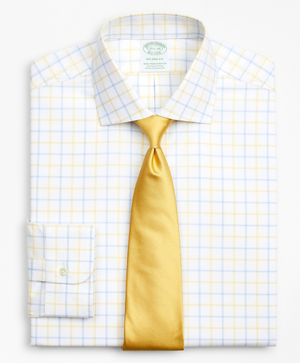 Stretch Milano Slim-Fit Dress Shirt, Non-Iron Poplin English Collar Double-Grid Check