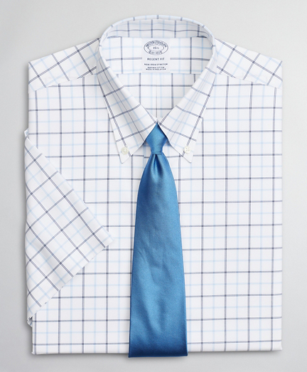 Stretch Regent Regular-Fit Dress Shirt, Non-Iron Twill Short-Sleeve Double-Grid Check