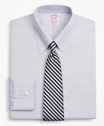 Stretch Madison Classic-Fit Dress Shirt, Non-Iron Twill Button-Down Collar Micro-Check