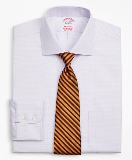 Stretch Madison Relaxed-Fit Dress Shirt, Non-Iron Twill English Collar Micro-Check