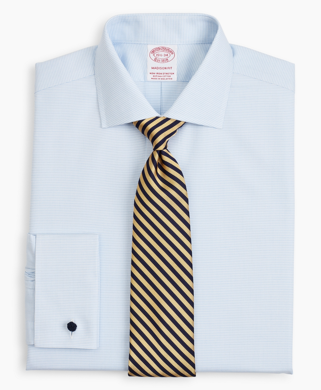 Brooksbrothers Stretch Madison Relaxed-Fit Dress Shirt, Non-Iron Twill English Collar French Cuff Micro-Check