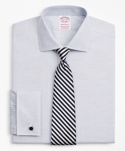 Stretch Madison Relaxed-Fit Dress Shirt, Non-Iron Twill English Collar French Cuff Micro-Check